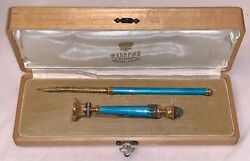 Guilloche Enamel Pen And Seal In The Manner Of Faberge. The Seal Is 4 Inches Lon