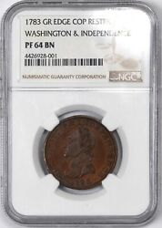 1783 Gr Edge Copper Restrike Washington And Independence - Ngc Pf64 Bn -