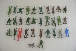 Toy Soldiers Lot Of 32 Vintage Army Men Mpc Made In Hong Kong Also Cowboy And Dog