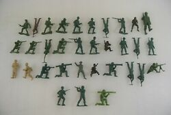Toy Soldiers Lot Of 33 Vintage Army Men Mpc Made In Hong Kong Green Grey Beige