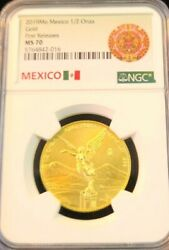 2019 Mexico Gold Libertad 1/2 Onza Ngc Ms 70 First Releases Perfect Beautiful