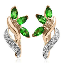 14k Rose And White Genuine Lab Created Emerald And Diamond Russian Style Earrings