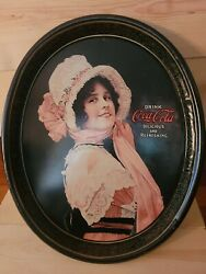 Vintage 1972 Coca Cola Metal Serving Tray Betty Bonnet Victorian Oval Sign