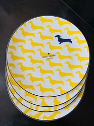Kate Spade Wickford Dachshund Accent Plates 9.25 Set Of 4 New Yellow New
