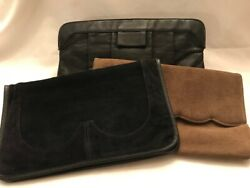Lot 3 Vintage Suede Leather Clutch Purses Shoulder Evening Bag 2 Black amp; 1 Taupe $12.99
