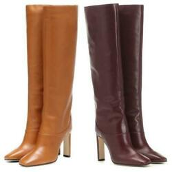 Ladies Square Toe Block Heel Outdoor Casual Knee High Riding Boots 40 41 42 43 L