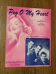 Vintage 1947 Sheet Music Peg Oand039 My Heart By Alfred Bryan And Fred Fisher
