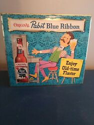 1960s Pabst Beer Statue Figure Guy Playing Piano Toc Tin Over Cardboard Sign Pbr