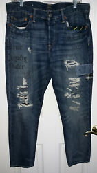 Polo The Avery Boyfriend Jeans Patched Distressed Women's Sz 28r