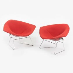 C. 2005 Harry Bertoia Knoll Large Diamond Lounge Chair W/ Full Red Boucle Cover