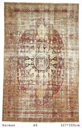 Red Over-washed Faded Antique Vintage Medallion Wool Hand-knotted Rugs 209x327cm