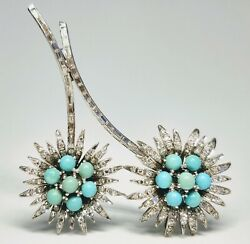 Antique 1920s Deco Floral 14k White Gold Pin Brooch Turquoise 1.25ct In Diamonds