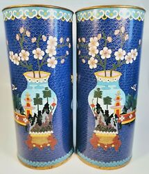 Pair Of Antique 1920s Chinese Cloisonnandeacute Enamel On Bronze 11.5 Cylindrical Vases