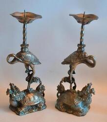Vintage 1920s Chinese Dragon Turtle And Bird Metal Candlesticks