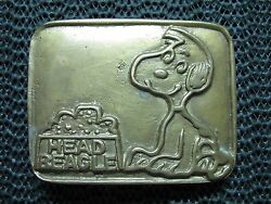 HEAD BEAGLE SNOOPY BELT BUCKLE VINTAGE VERY RARE 1970s TAIWAN BRASS LOOK