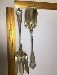 And Co Sterling Silver Lg Olympian Pattern Salad Serving Set Fork And Spoon