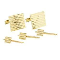 Men's Solid 14k Yellow Gold Grooved Pattern Square Cuff Link And 3 Button Stud Set