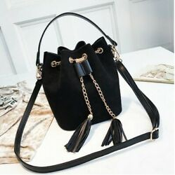 Crossbody Black Handbags Suede Bucket Bag Organizer Small Tassel Women#x27;s $34.96
