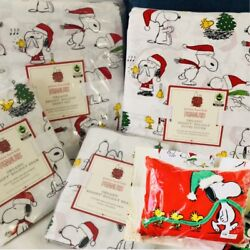 Pottery Barn Kids 8pc Peanuts Cotton Queen Sheet Duvet Shams And Snoopy Pillow