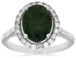 3.20ct Diamond And Aaa Green Garnet 14kt White Gold 3d Oval Halo Engagement Ring