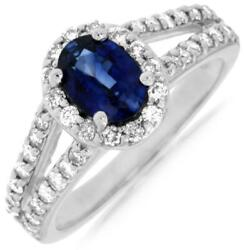 1.65ct Diamond And Aaa Sapphire 14kt White Gold Oval And Round Halo Engagement Ring