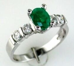 1.25ct Diamond And Aaa Emerald 14k White Gold Oval And Round 5 Stone Engagement Ring