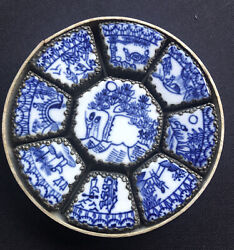 9 Rare Chinese Old Trinket Or Jewelry Boxes Set White Metal Hand Painted Blue