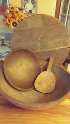 6primitive Wood Turned Itmesandnbsp Bowls 1 Lg 1 Sm. And A Lg Cheese Box Butter Paddle.