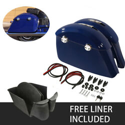 Blue Saddlebags Electronic Latch And Carpet Liner Fit For Indian Chieftain 2014-18