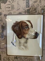 Leon Danchin Brittany Spaniel Dog Etching Lithograph Large French Art Painting