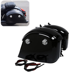 Painted Black Saddle Bag W/ Electronic Latch Lid For Indian Chieftain Roadmaster