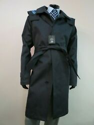 Nwot Gianni Versace Couture Made In Italy Belted Navy Blue Trench Coat Size 46