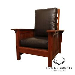 Mission Style Oak Brown Leather Spindle Morris Chair