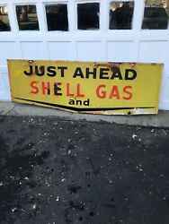 Original Gas Oil Advertising Sign Shell Gas Highway Smaltz Type Finish Ships