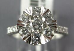 Estate Large 1.0ct Diamond 18kt White Gold 3d Cluster Classic Engagement Ring