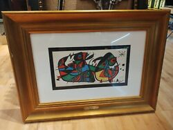 Joan Miro Signed Lifetime Original Color Lithograph Italy With Coi