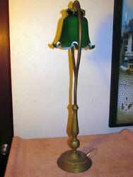 Vintage Tall Brass Lamp Green Shade Western Old Steam Rustic Table Light Ih