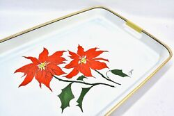Vintage Mcm Saltera Himark Christmas Poinsettia Lacquer Tray Wrapped Handles