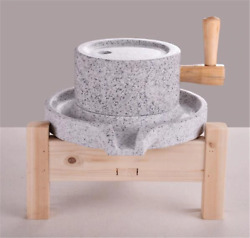With Wooden Frame White Granite 2030 Soybean Stone Mill   Stone Grinder