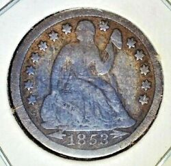 Lot Of 3 Seated Liberty Dimes - 1853 F 1876cc Vg 1883 Vf
