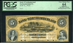 Great Color Proof 5 Bank Of Northumberland Pa W/ Canal Scene Pcgs Choice New 64