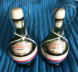 Vintage Italian Tipo Salt And Pepper Shakers Wine Bottle Swiss Colony Red And Green