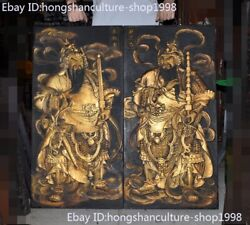 Rare Chinese Old Wood Painted Hand-carve Evil Door Guardian Door God Keeper Pair