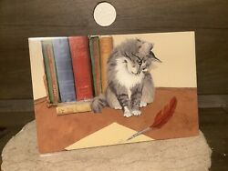 Ack Decorative Art Tile New Hand Painted Cat With Books 8 X 12 Great Gift