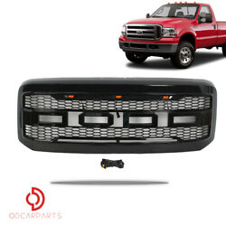 Fit 2005-2007 Ford F250 F350 Raptor Style Front Grille W/led/letters Gloss Black