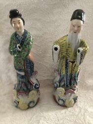 Two Vintage 10 Inch Chinese Export Porcelain Statue Figurines Famille Rose Tall