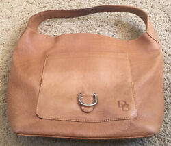 Dooney and Bourke Brown Leather Lined Hook Closure Satchel Bag $22.00