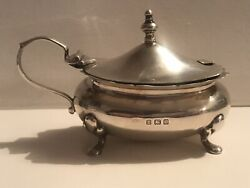 Antique Solid Silver Sterling Mustard Pot Birmingham 1918 A C And Co 925 Not Scrap