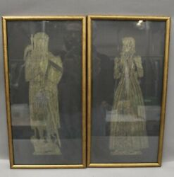 Two Medieval Brass Rubbings Framed from Art Gallery Ohio 18 X10
