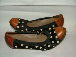 New Wob Anyi Lu Flat Shoes Size 9 1/2 Leather Black Brown Circles 330